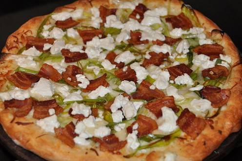 Pizza -- Leek, Bacon, Goat Cheese